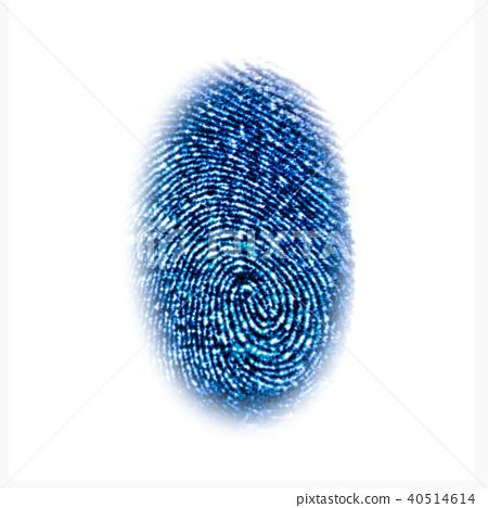 Blue fingerprint identification symbol isolated 40514614