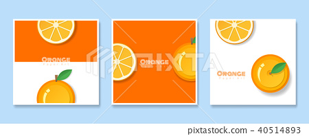 Set of fruit banners with orange paper art style 40514893