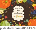 Autumn nature frame of fall season with vegetables and leaves 40514974