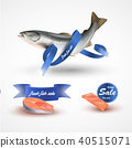 Set salmon . Fillet, steak and fish salmon isolated on white without blue ribbon 40515071