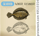 Winter flounder side view sketch for sign 40515554