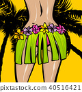 Hawaii woman pop art comic book background 40516421