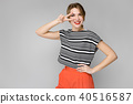 Attractive woman in fashionable clothes 40516587