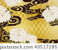 日本模式的鮮花,黃金和波浪的背景材料 40517285