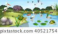 Many wild animals in the pond 40521754