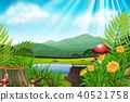Background scene with mountain and lake 40521758