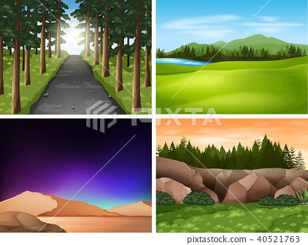 Four nature scenes with mountains and field 40521763