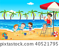 A Lifeguard Look After Kids at The Beach 40521795