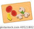 Mushroom tomato pumpkin on cutting board 40521802