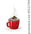 red cup of coffee with cream, illustration 40522764