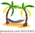 Coconut Tree and Hammock on White Background 40524461