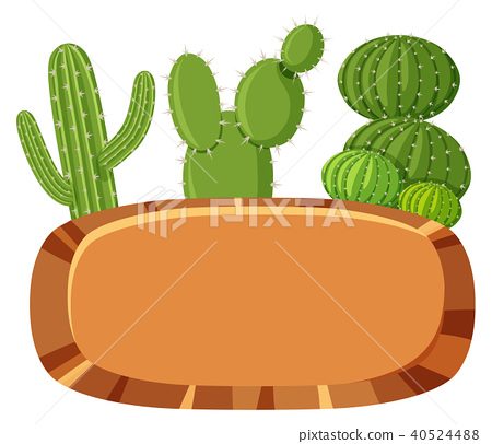 Mexican Cactus Banner on White Background 40524488