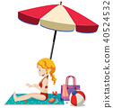 beach girl vector 40524532
