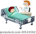 A Sick Boy Sleeping in Hospital 40524562