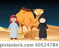 People Travel in Desert with Camel 40524784