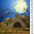 Stone Cave Under then Moon Light 40524828