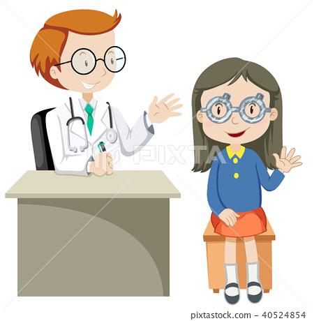 A Girl Wearing Test Eye Glasses 40524854