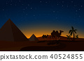 Pyramid and Camels in Desert night Scene 40524855