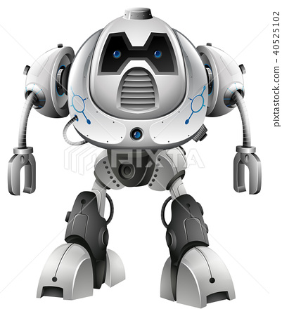 Robot with blue eyes on white background 40525102