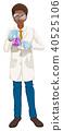 Scientist in white coat holding beaker 40525106