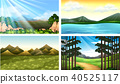 Four nature scenes with forest and lake 40525117