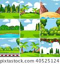 Nine different outdoor nature scenes 40525124