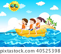 Children Riding Banana Boat at the Beach 40525398