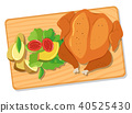 Roasted Chicken and Salad on Wooden Board 40525430
