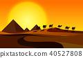 Silhouette Camels in Desert Scene 40527808