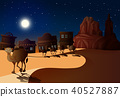 Desert Scene at Night with Camels 40527887
