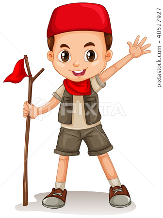 Boy holding red flag 40527927