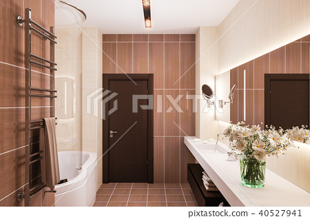 3d render interior design of a modern bathroom with a large mirror 40527941