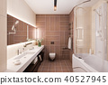 3d render interior design of a modern bathroom with a large mirror 40527945
