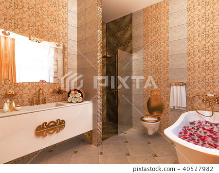 3d illustration of an interior design of a bathroom in a classic style 40527982