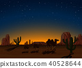 Silhouette Camels in Desert at Night 40528644