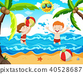 Boy and Girl at the Beach 40528687