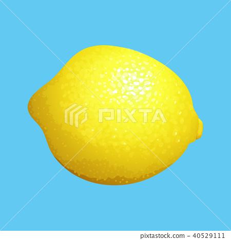 Yellow Lemon on Blue Background 40529111