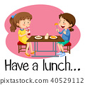 Girls Having Lunch at Cafeteria 40529112
