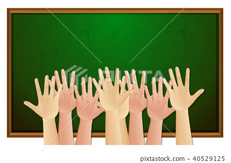 Human Hands with Chalk Board 40529125
