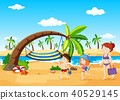 Beach Scene with Hammock 40529145