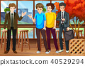 A Group of Young Men at Restaurant 40529294