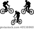 girl riding bicycle silhouettes 40536960