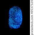 Blue fingerprint identification symbol isolated 40537320