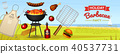 Barbecue grill elements set isolated on red background. BBQ party poster. Summer time. Meat 40537731