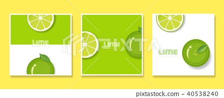 Set of fruit banners with lime in paper art style 40538240