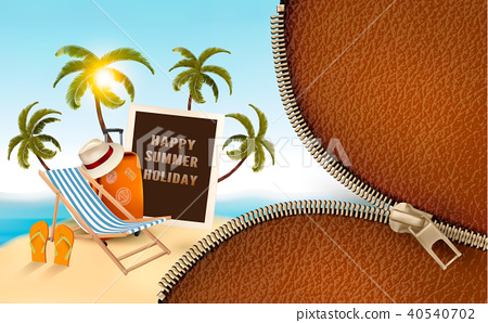 Seaside vacation vector. Travel items 40540702