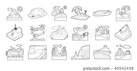 Landscape icon set, outline style 40542438