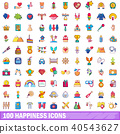 100, happiness, icons 40543627