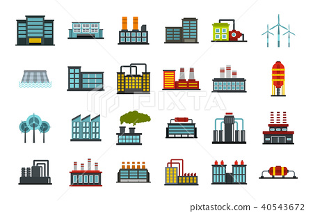 Factory icon set, flat style 40543672