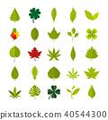 Leaf icon set, flat style 40544300